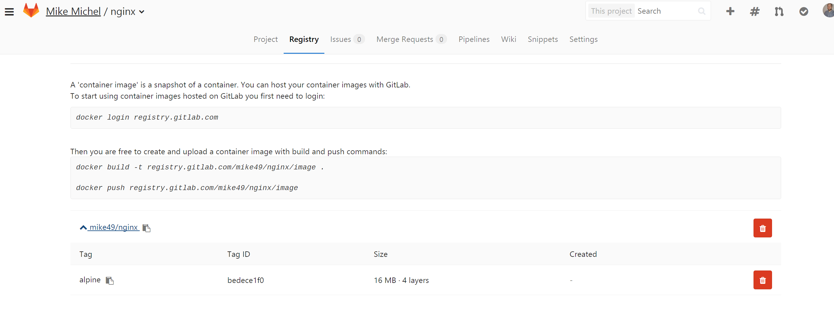 gitlab container registry
